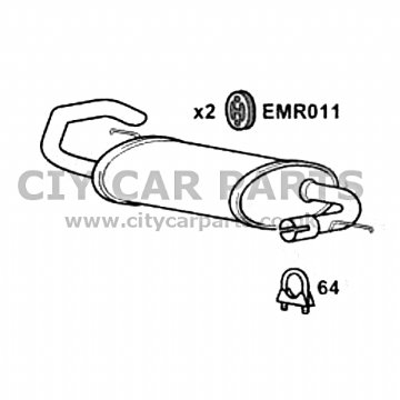LAND ROVER FREELANDER 2.0 DIESEL MODELS 97 TO 2007 EXHAUST REAR BOX SILENCER KIT EXLR6002
